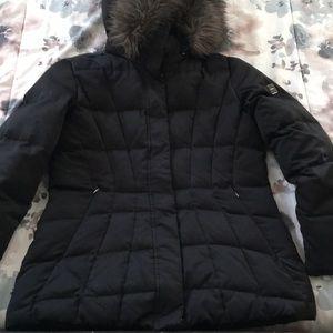 Calvin Klein faux fur trim hooded puffer coat